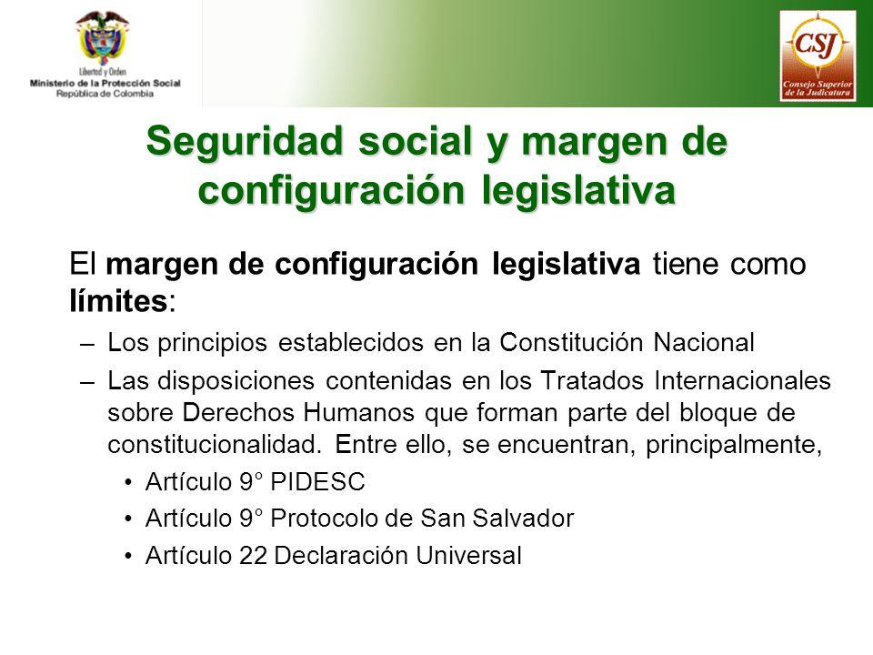 Seguridad social y margen de configuración legislativa