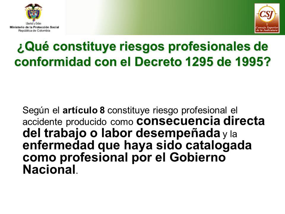 ¿Qué constituye riesgos profesionales de conformidad con el Decreto 1295 de 1995