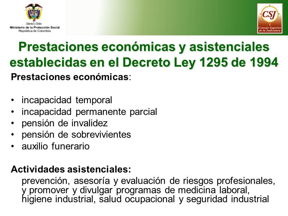 Prestaciones económicas y asistenciales establecidas en el Decreto Ley 1295 de 1994