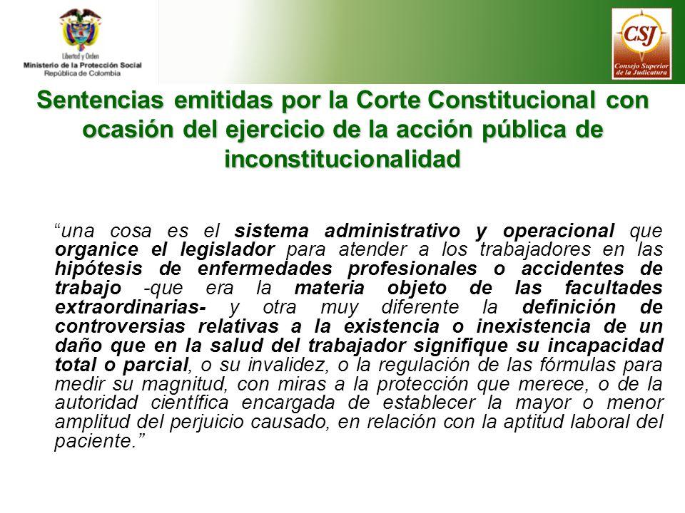 Sentencias emitidas por la Corte Constitucional con ocasión del ejercicio de la acción pública de inconstitucionalidad
