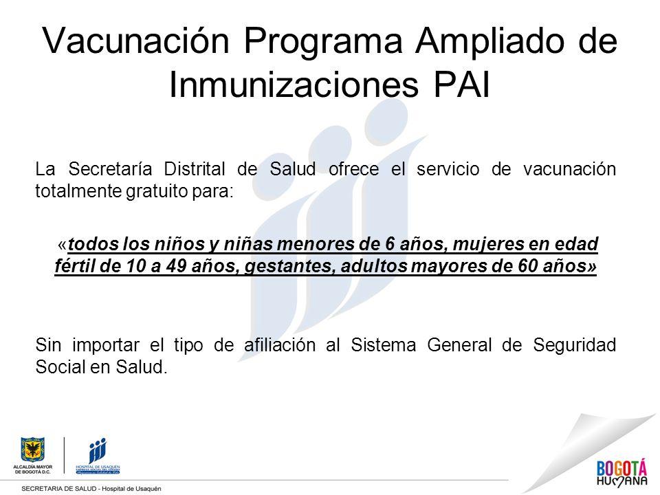 Vacunación Programa Ampliado de Inmunizaciones PAI