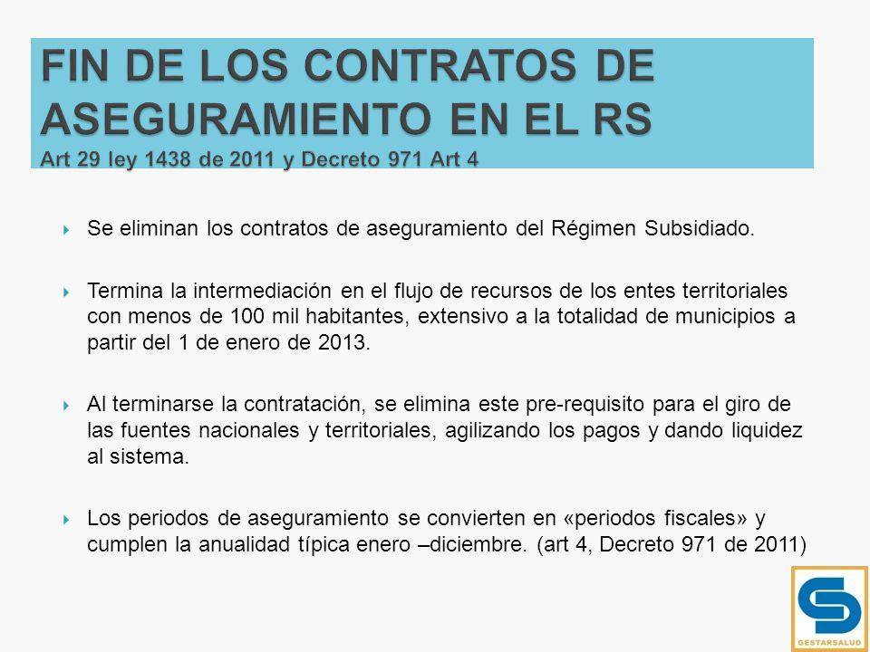 FIN DE LOS CONTRATOS DE ASEGURAMIENTO EN EL RS Art 29 ley 1438 de 2011 y Decreto 971 Art 4