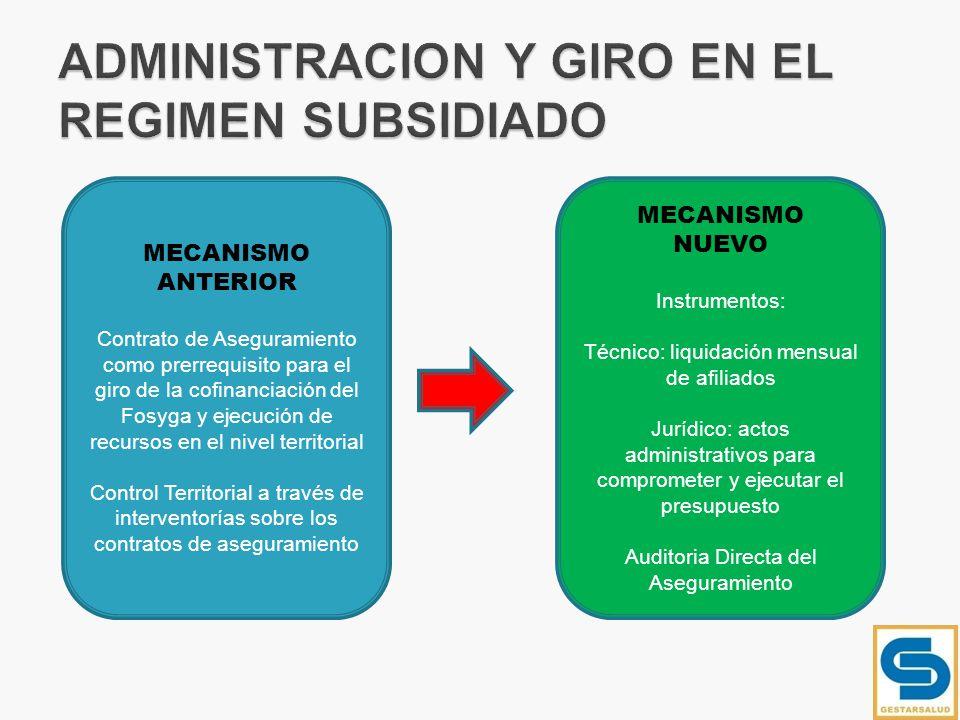 ADMINISTRACION Y GIRO EN EL REGIMEN SUBSIDIADO