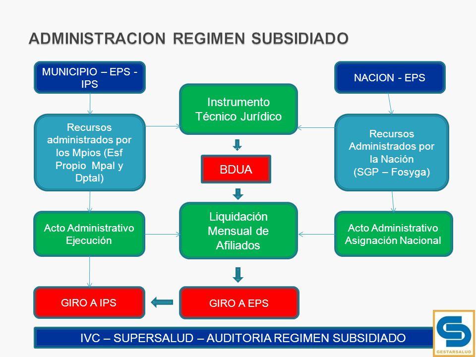 ADMINISTRACION REGIMEN SUBSIDIADO