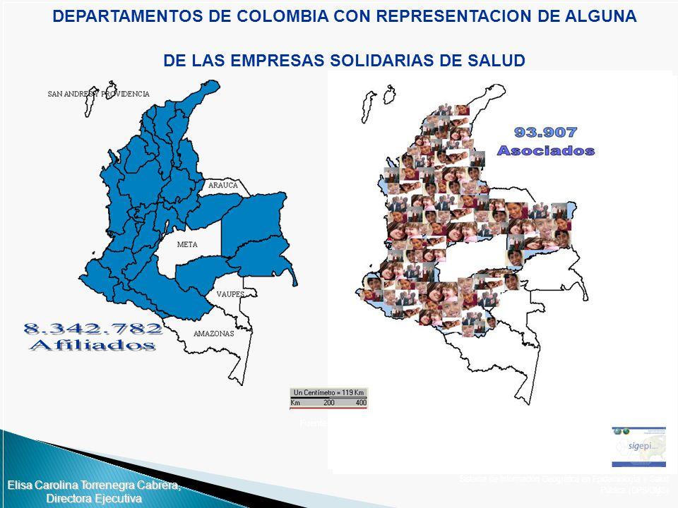 DEPARTAMENTOS DE COLOMBIA CON REPRESENTACION DE ALGUNA