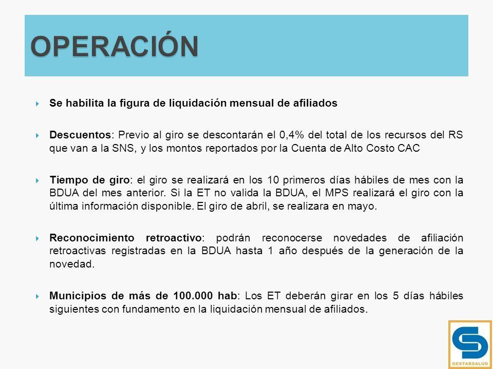 OPERACIÓN Se habilita la figura de liquidación mensual de afiliados
