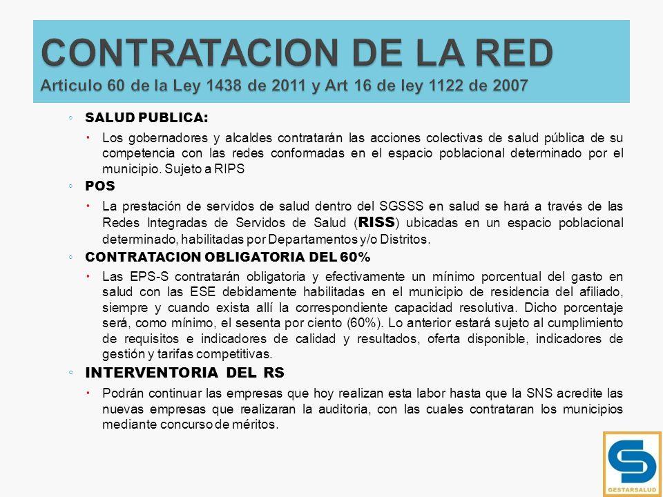 CONTRATACION DE LA RED Articulo 60 de la Ley 1438 de 2011 y Art 16 de ley 1122 de 2007