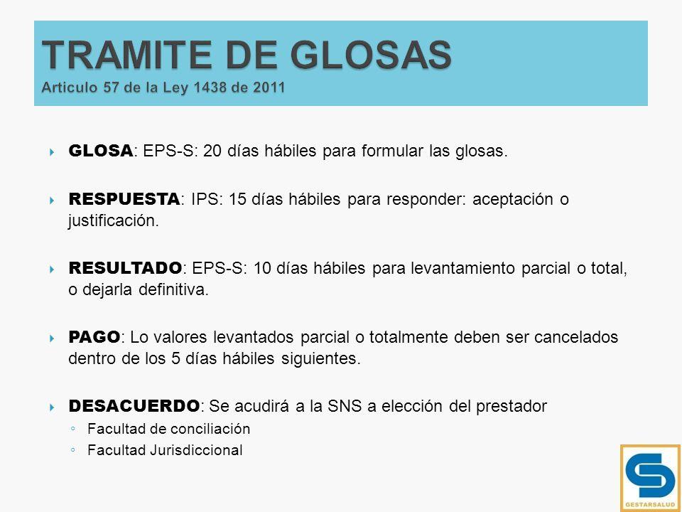 TRAMITE DE GLOSAS Articulo 57 de la Ley 1438 de 2011
