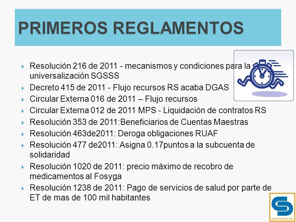 PRIMEROS REGLAMENTOS Resolución 216 de 2011 - mecanismos y condiciones para la universalización SGSSS.