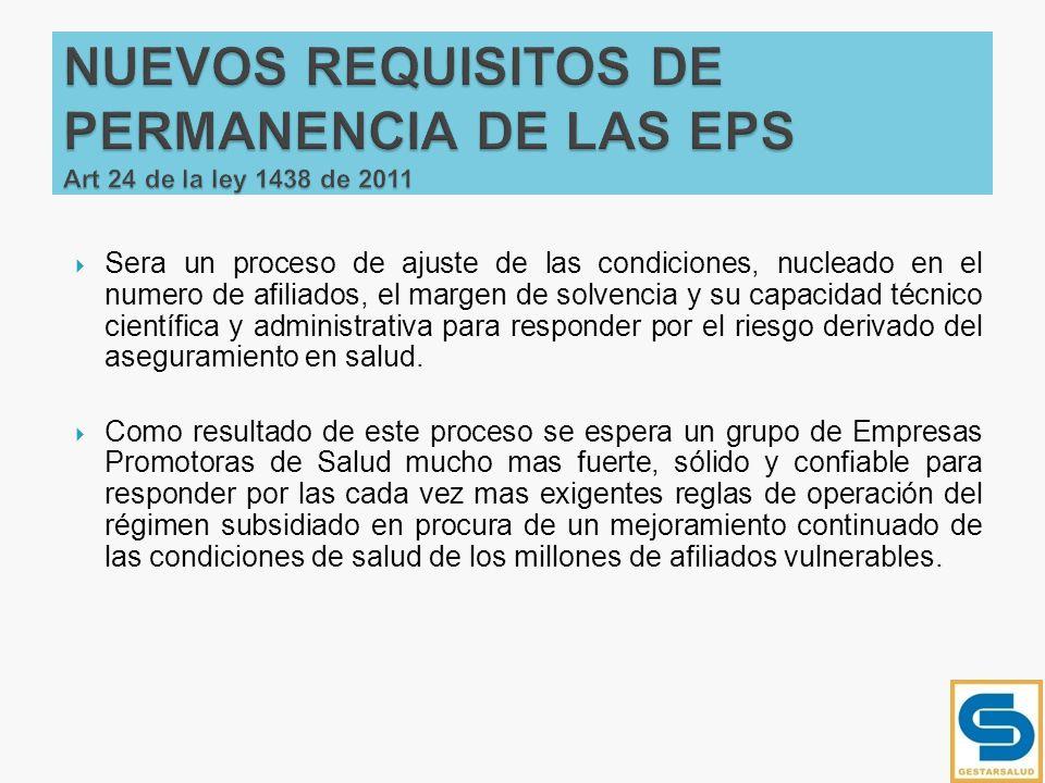 NUEVOS REQUISITOS DE PERMANENCIA DE LAS EPS Art 24 de la ley 1438 de 2011