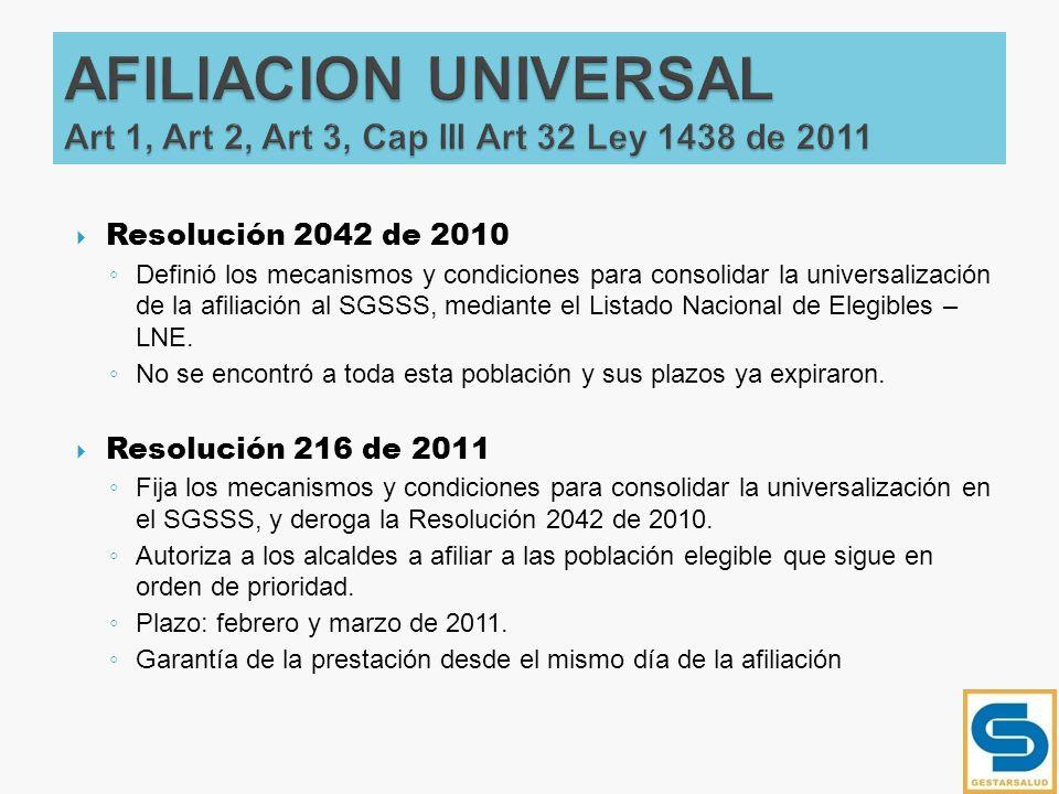 AFILIACION UNIVERSAL Art 1, Art 2, Art 3, Cap III Art 32 Ley 1438 de 2011