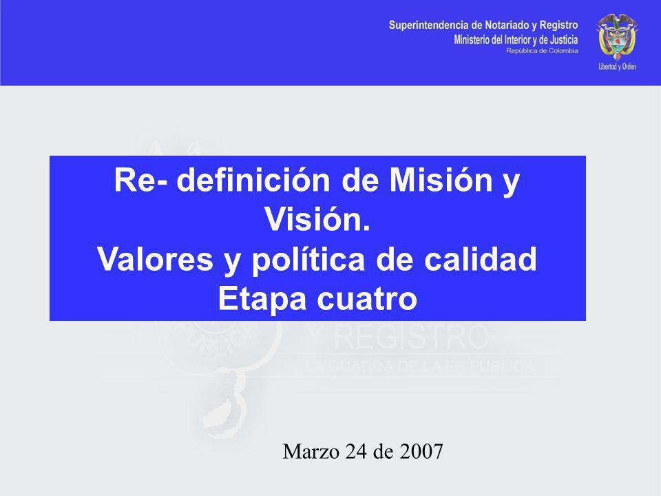 Re- definición de Misión y Visión. Valores y política de calidad
