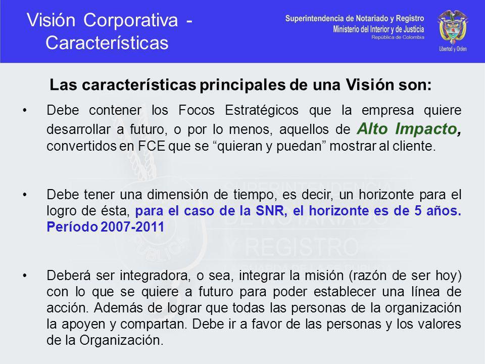 Visión Corporativa - Características