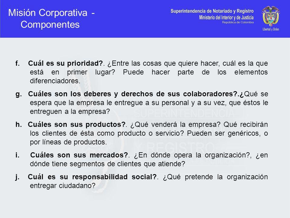 Misión Corporativa - Componentes
