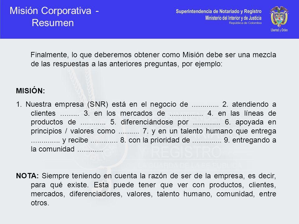 Misión Corporativa - Resumen