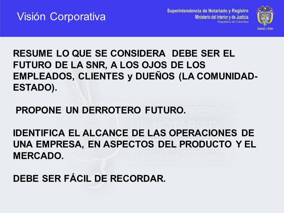 Visión Corporativa RESUME LO QUE SE CONSIDERA DEBE SER EL FUTURO DE LA SNR, A LOS OJOS DE LOS EMPLEADOS, CLIENTES y DUEÑOS (LA COMUNIDAD-ESTADO).