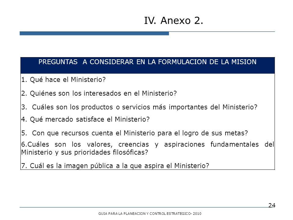 IV. Anexo 2. PREGUNTAS A CONSIDERAR EN LA FORMULACION DE LA MISION
