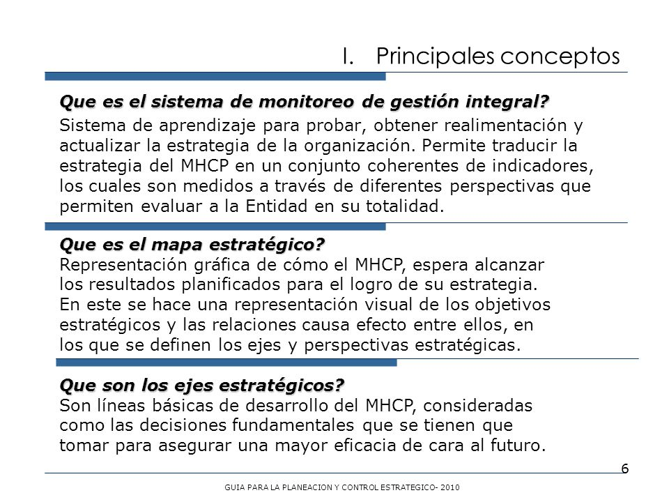 GUIA PARA LA PLANEACION Y CONTROL ESTRATEGICO- 2010