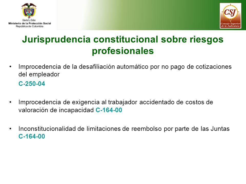 Jurisprudencia constitucional sobre riesgos profesionales
