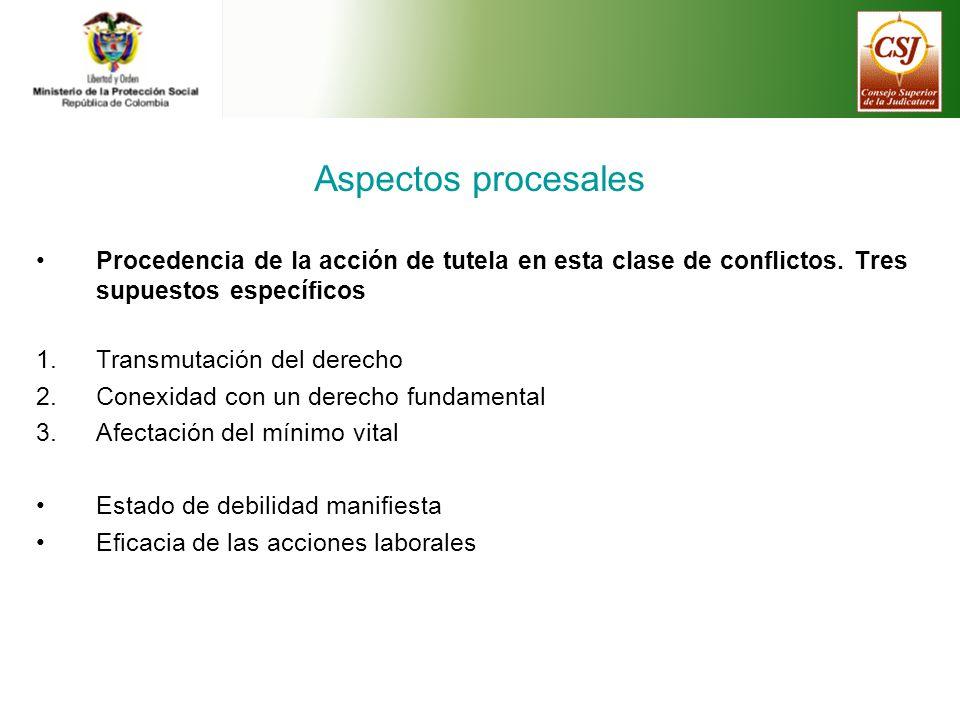 Aspectos procesales Procedencia de la acción de tutela en esta clase de conflictos. Tres supuestos específicos.