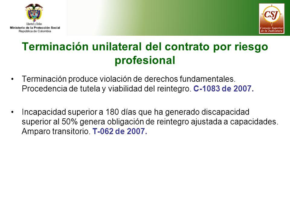 Terminación unilateral del contrato por riesgo profesional