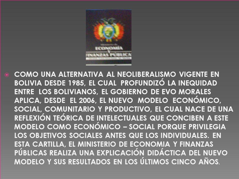 COMO UNA ALTERNATIVA AL NEOLIBERALISMO VIGENTE EN BOLIVIA DESDE 1985, EL CUAL PROFUNDIZÓ LA INEQUIDAD ENTRE LOS BOLIVIANOS, EL GOBIERNO DE EVO MORALES APLICA, DESDE EL 2006, EL NUEVO MODELO ECONÓMICO, SOCIAL, COMUNITARIO Y PRODUCTIVO, EL CUAL NACE DE UNA REFLEXIÓN TEÓRICA DE INTELECTUALES QUE CONCIBEN A ESTE MODELO COMO ECONÓMICO – SOCIAL PORQUE PRIVILEGIA LOS OBJETIVOS SOCIALES ANTES QUE LOS INDIVIDUALES.