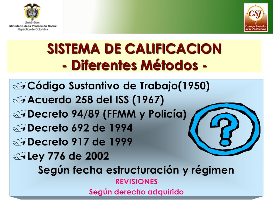 SISTEMA DE CALIFICACION - Diferentes Métodos -