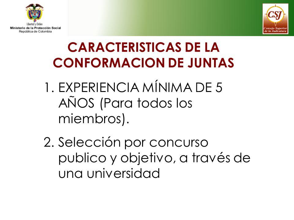 CARACTERISTICAS DE LA CONFORMACION DE JUNTAS