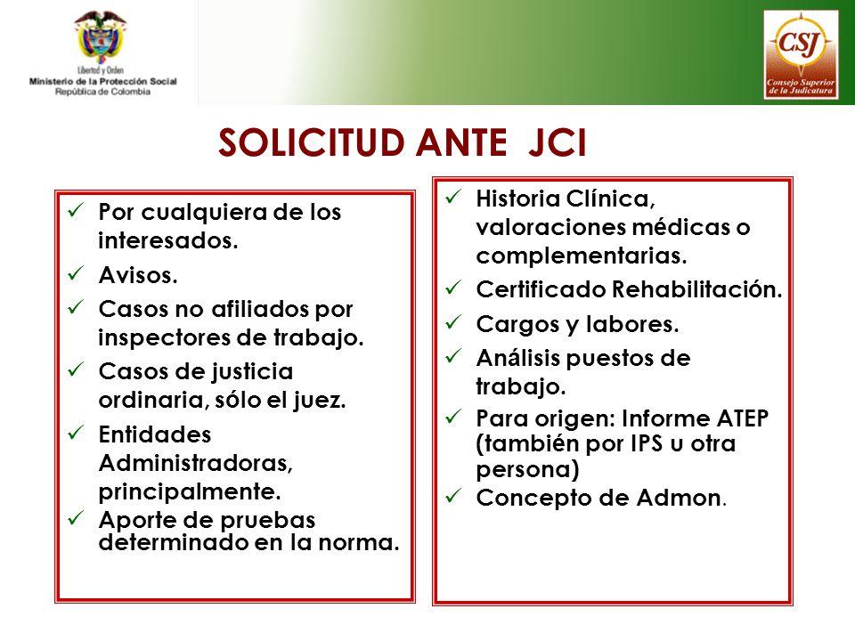 SOLICITUD ANTE JCI Historia Clínica, valoraciones médicas o complementarias. Certificado Rehabilitación.