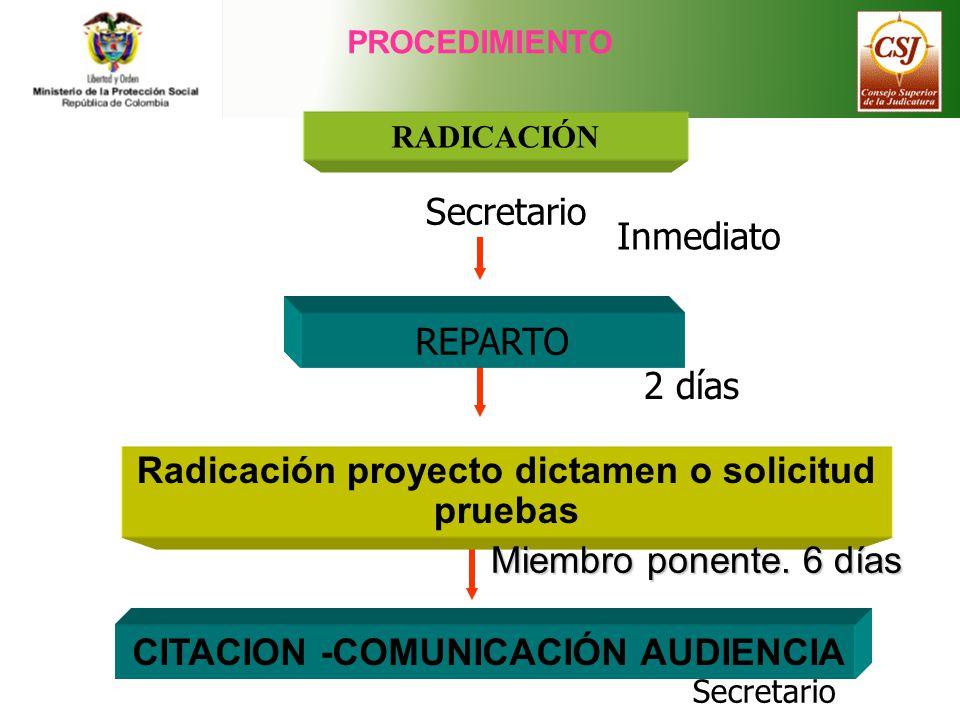 Radicación proyecto dictamen o solicitud pruebas