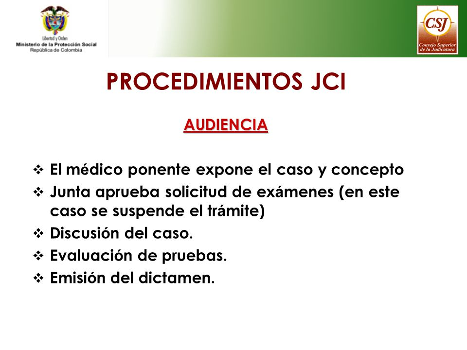 PROCEDIMIENTOS JCI AUDIENCIA