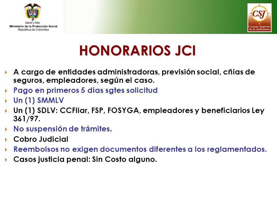 HONORARIOS JCI A cargo de entidades administradoras, previsión social, cñias de seguros, empleadores, según el caso.
