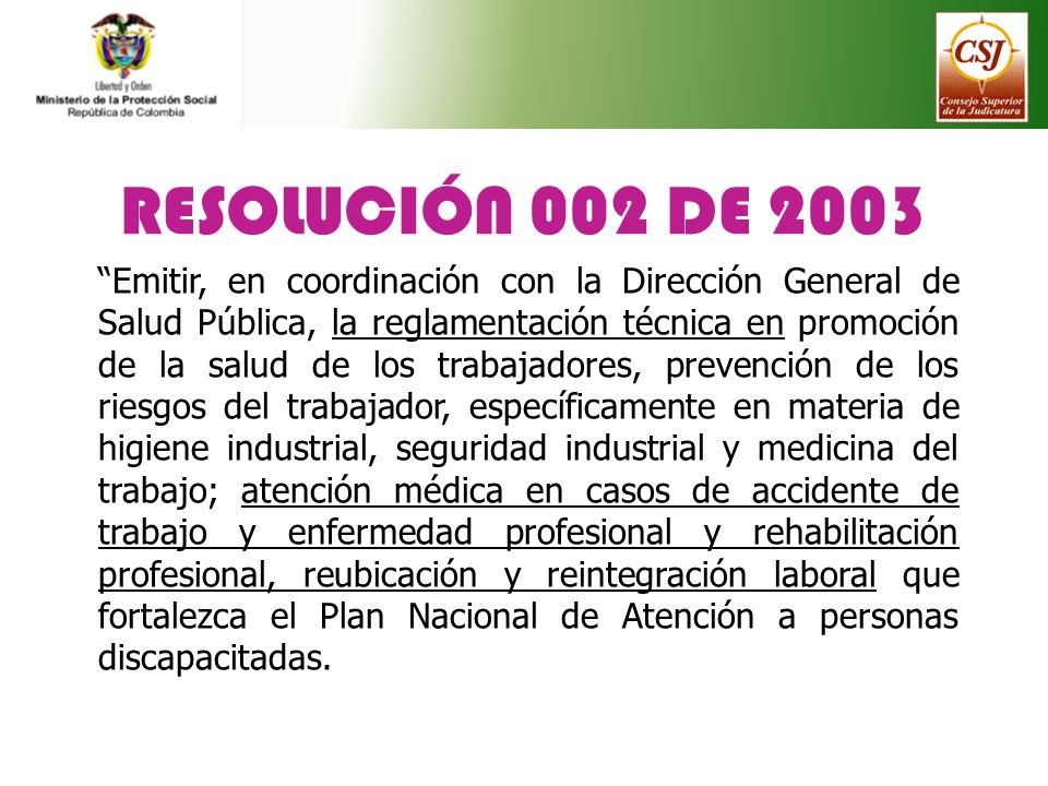 RESOLUCIÓN 002 DE 2003