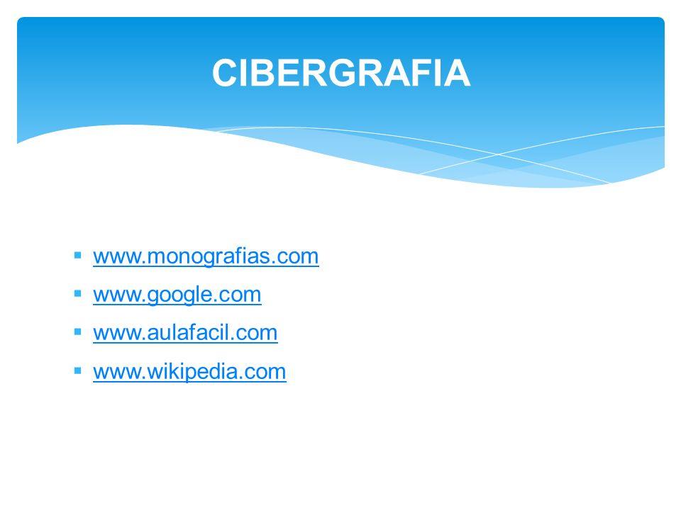 CIBERGRAFIA www.monografias.com www.google.com www.aulafacil.com
