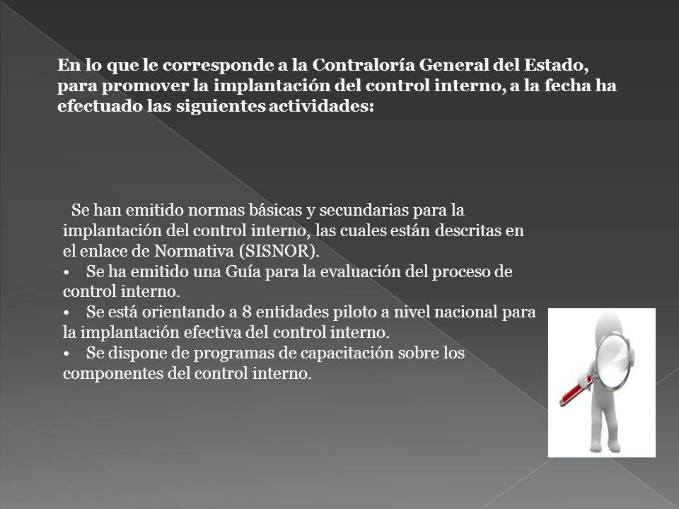 En lo que le corresponde a la Contraloría General del Estado, para promover la implantación del control interno, a la fecha ha efectuado las siguientes actividades: