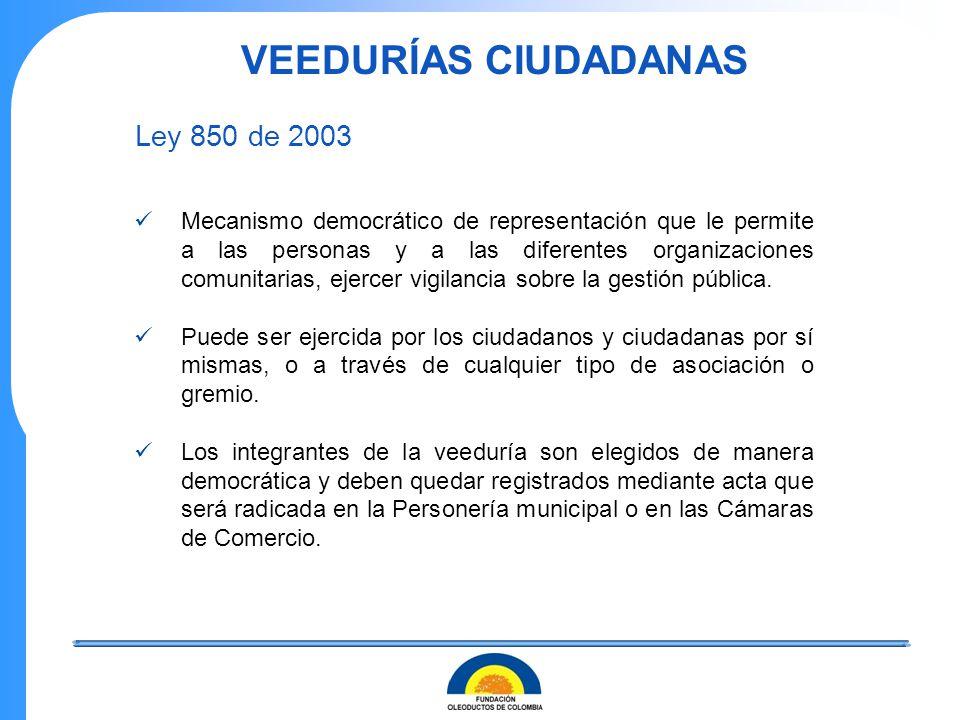 VEEDURÍAS CIUDADANAS Ley 850 de 2003