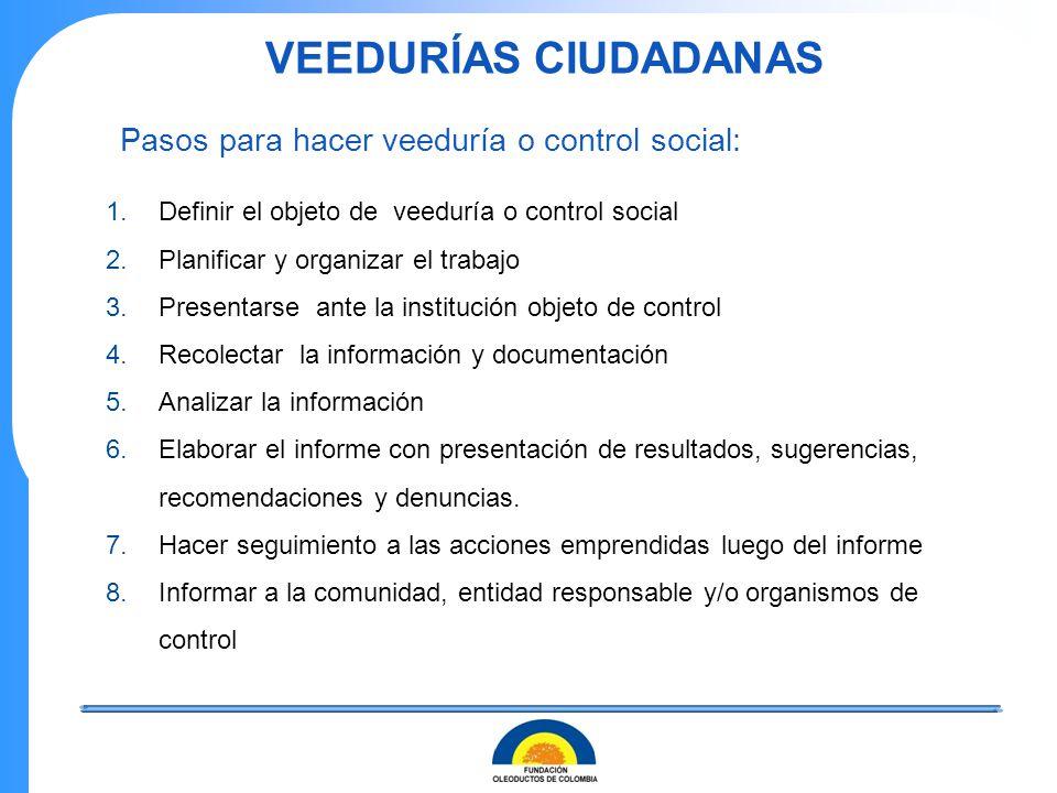 Pasos para hacer veeduría o control social:
