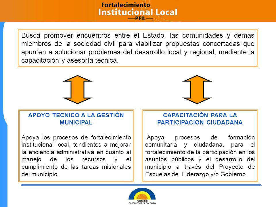 Busca promover encuentros entre el Estado, las comunidades y demás miembros de la sociedad civil para viabilizar propuestas concertadas que apunten a solucionar problemas del desarrollo local y regional, mediante la capacitación y asesoría técnica.