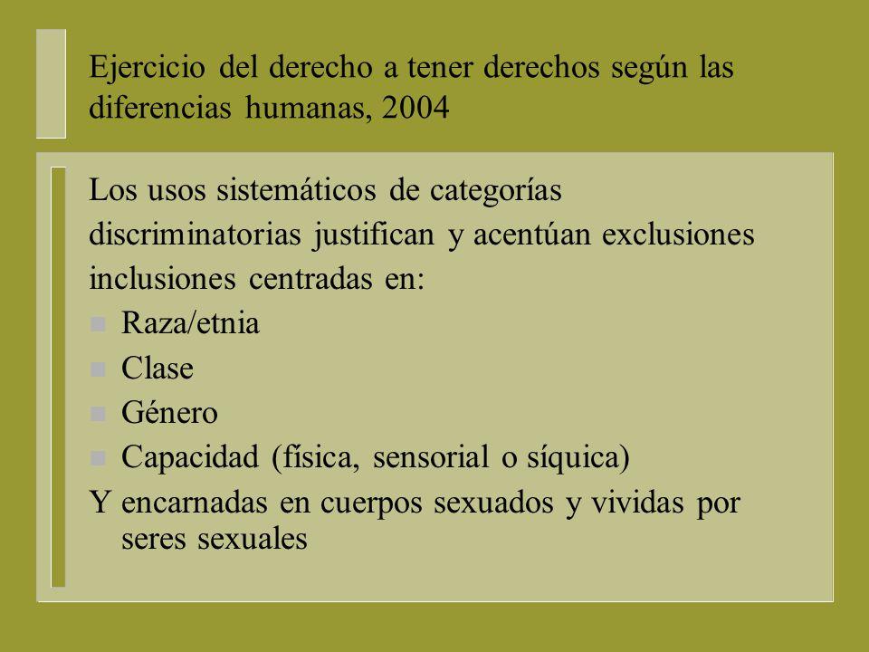 Ejercicio del derecho a tener derechos según las diferencias humanas, 2004