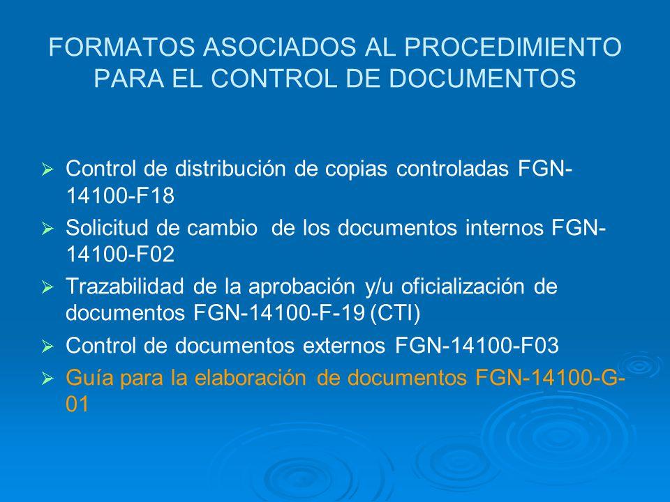 FORMATOS ASOCIADOS AL PROCEDIMIENTO PARA EL CONTROL DE DOCUMENTOS
