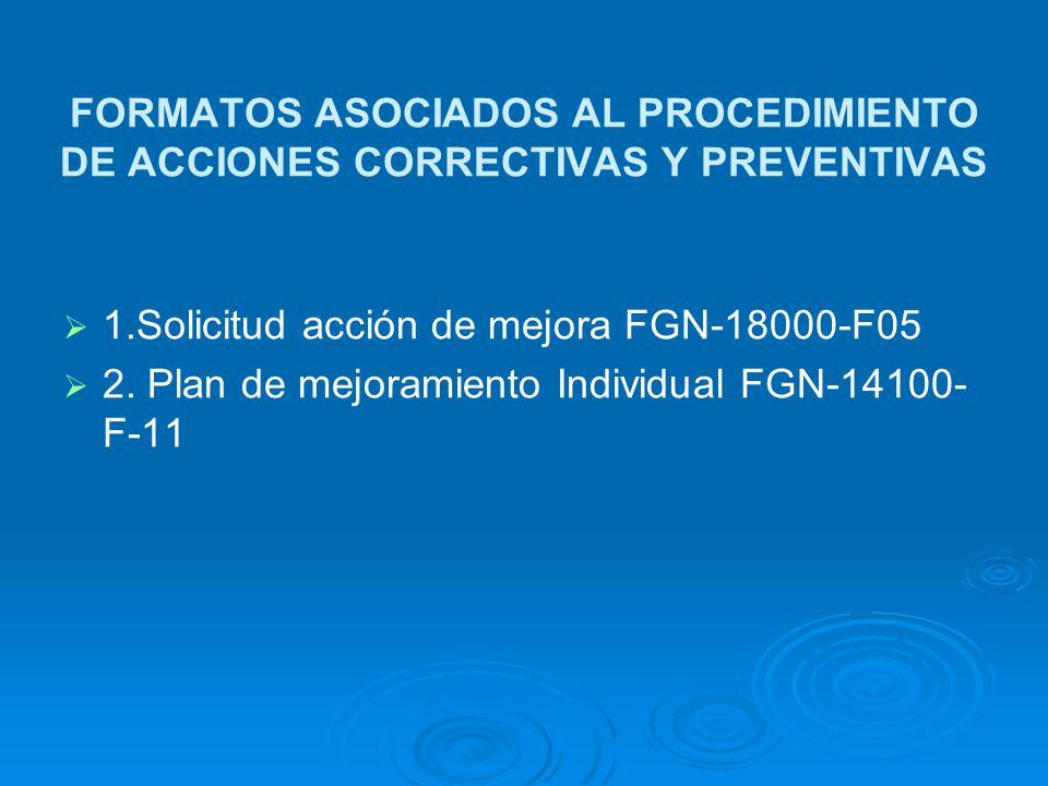 FORMATOS ASOCIADOS AL PROCEDIMIENTO DE ACCIONES CORRECTIVAS Y PREVENTIVAS