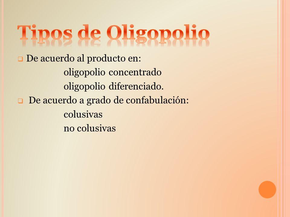 Tipos de Oligopolio De acuerdo al producto en: oligopolio concentrado