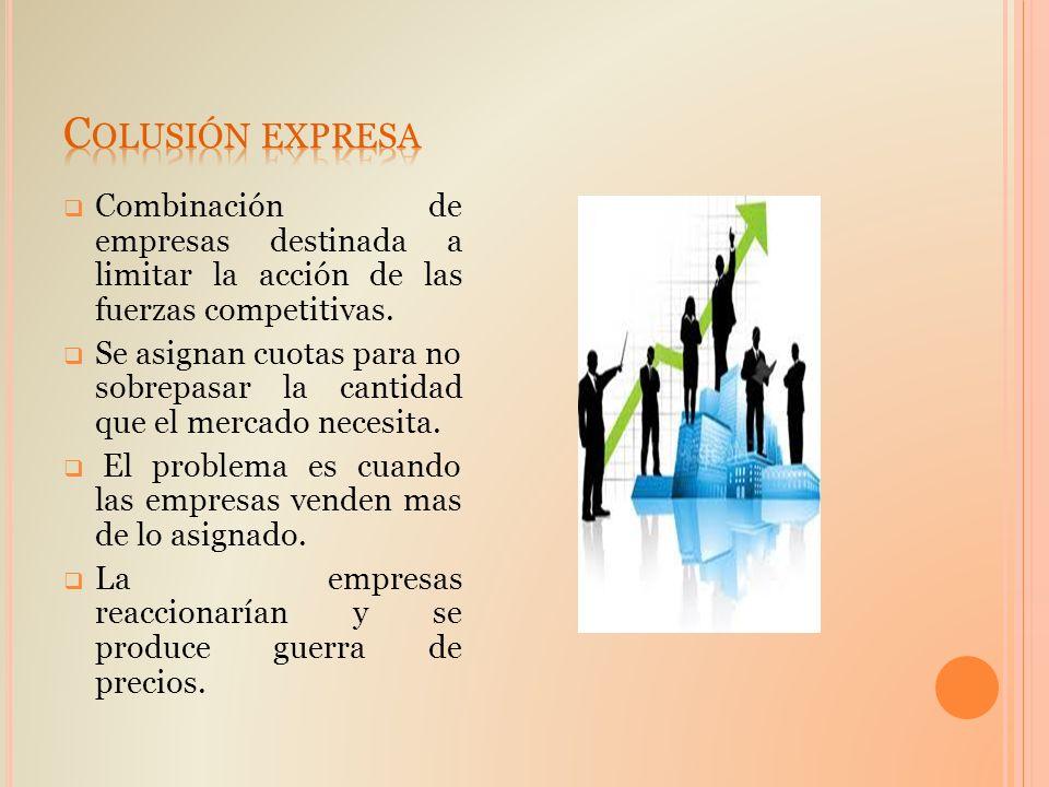 Colusión expresa Combinación de empresas destinada a limitar la acción de las fuerzas competitivas.