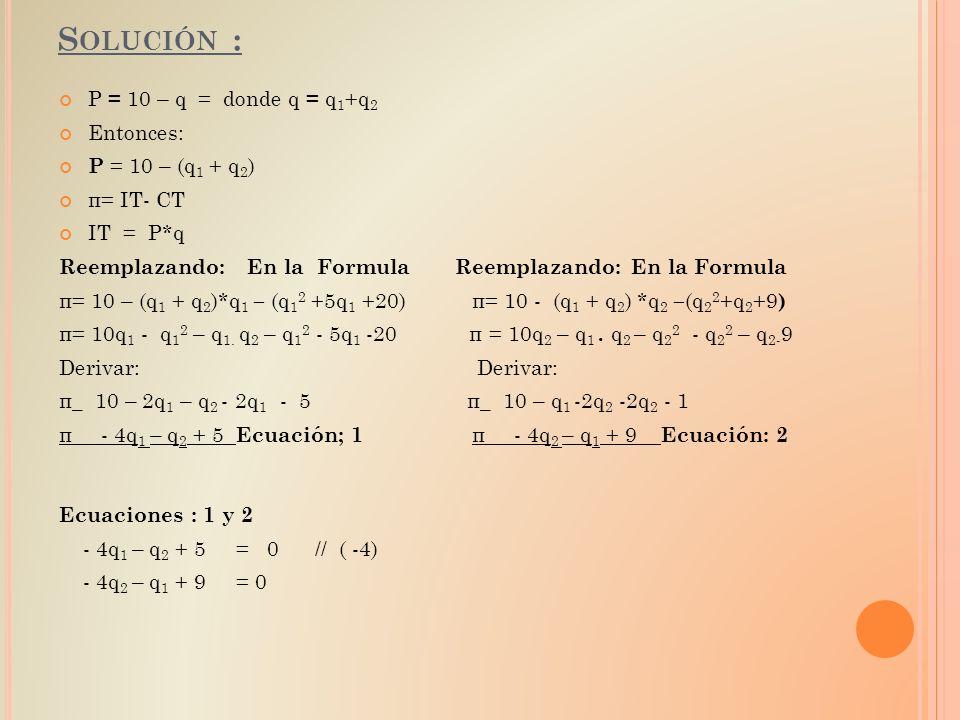 Solución : P = 10 – q = donde q = q1+q2 Entonces: P = 10 – (q1 + q2)