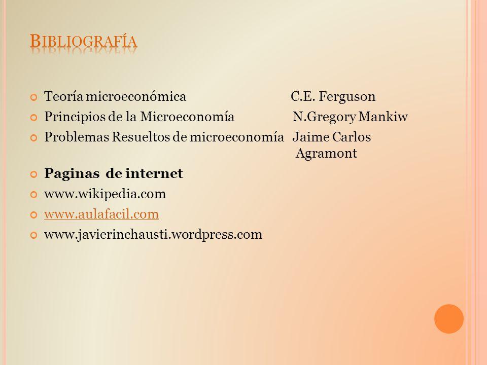 Bibliografía Teoría microeconómica C.E. Ferguson