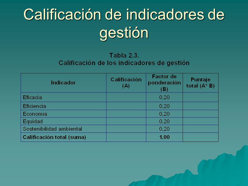 Calificación de indicadores de gestión