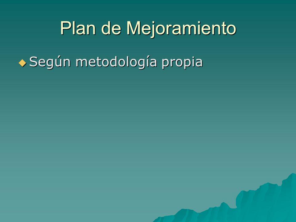 Plan de Mejoramiento Según metodología propia