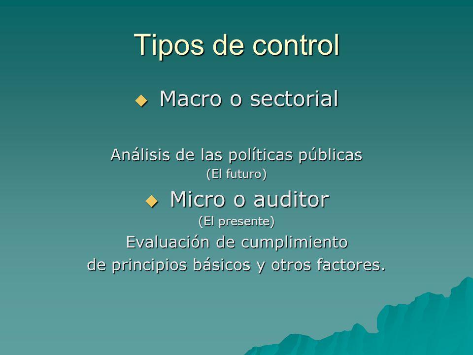 Tipos de control Macro o sectorial Micro o auditor