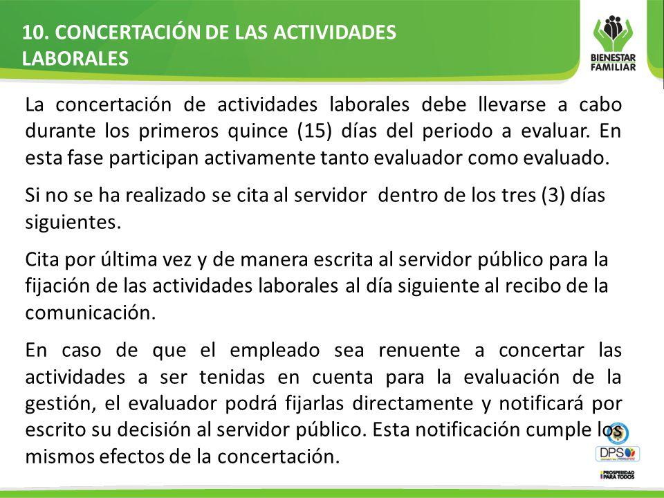 10. CONCERTACIÓN DE LAS ACTIVIDADES LABORALES