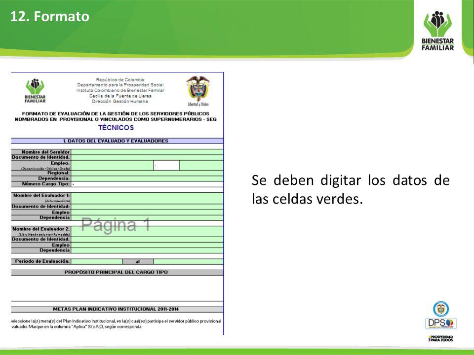 12. Formato Se deben digitar los datos de las celdas verdes.